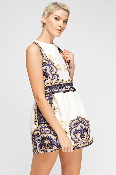 Embossed Mixed Print Skater Dress