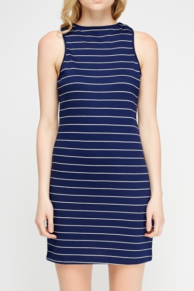 Navy Striped Shift Dress