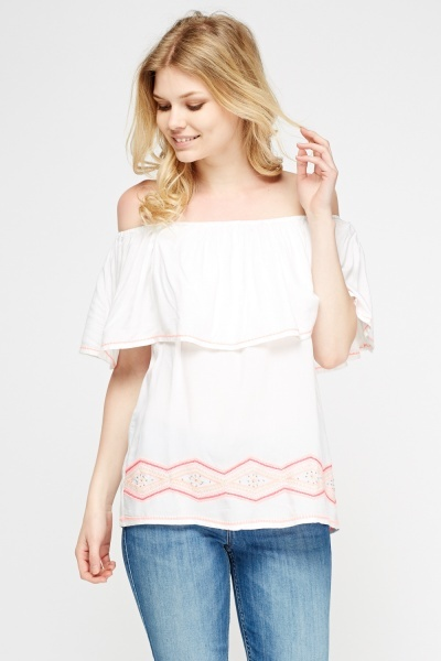 Off Shoulder Stitched Top