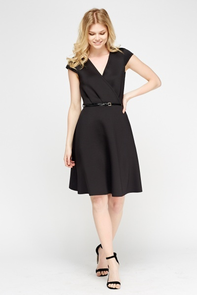 Wrap Scuba Belted Skater Dress
