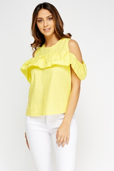 Cold Shoulder Frilled Top