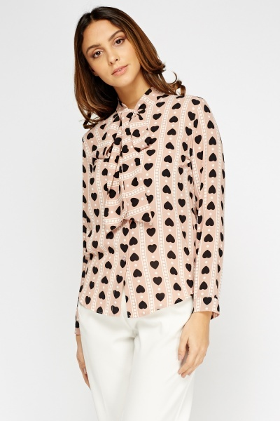 Heart Printed Tie Neck Blouse