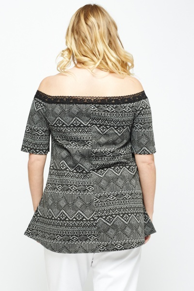 Black Aztec Off Shoulder Top