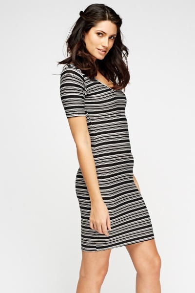 Black Stripe Bodycon Dress