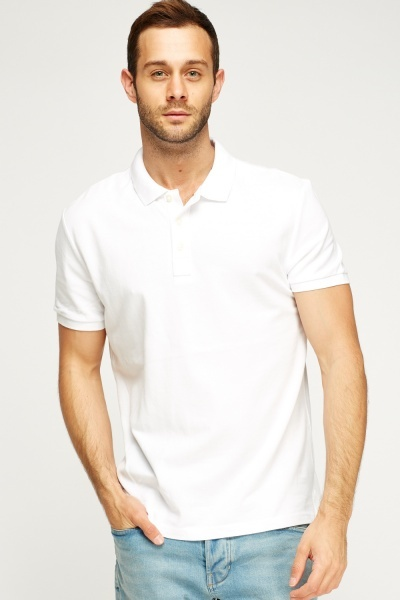 Button Neck Polo Mens Top
