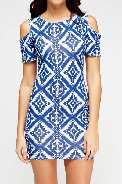 Cold Shoulder Printed Blue Dress