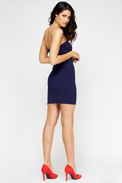 Navy Textured Bandeau Dress