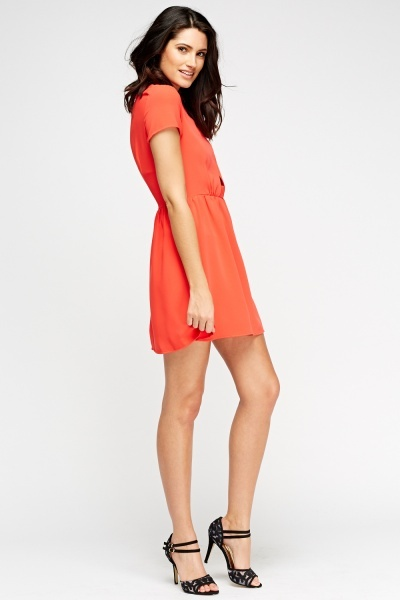 Red Cap Sleeves Skater Dress