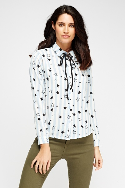 Star Printed Tie Neck Blouse