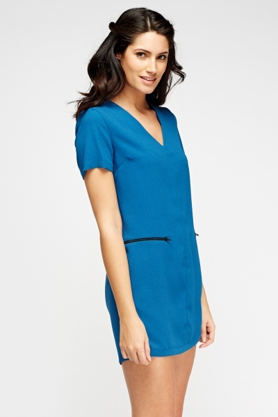 Teal Zip Detailed Dress