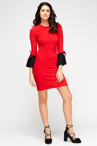 Two Tone Tie Cuff Dress
