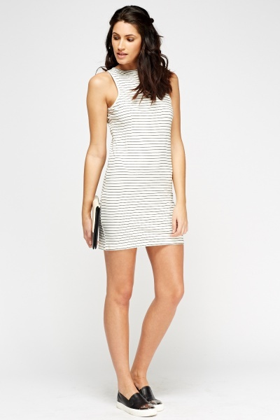 Image of White Striped Bodycon Dress