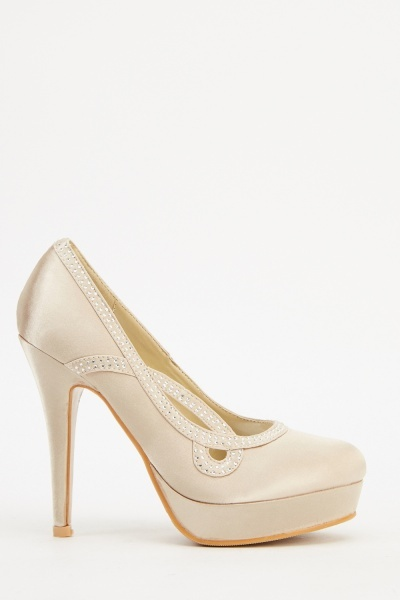 Diamante Satin Heels