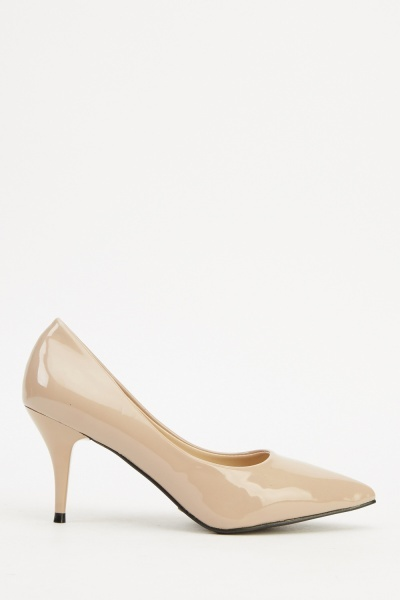 Faux Leather Beige Court Heels