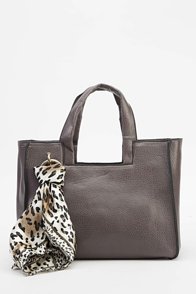Faux Leather Scarf Handbag