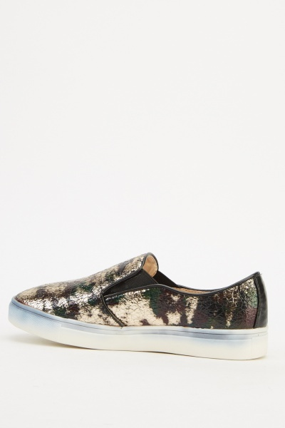 Metallic Printed Slip On Shoes
