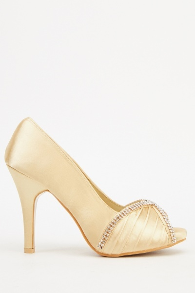 Satin Encrusted Court Heels
