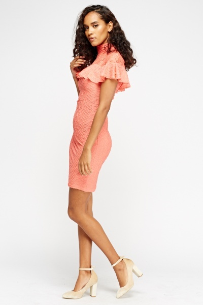 Lace Insert Contrast Coral Dress