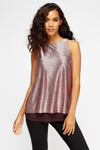 Metallic Contrast Hem Top