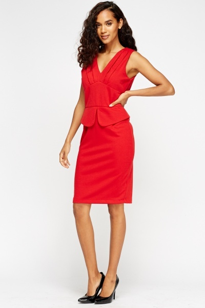 Peplum Low Neck Dress