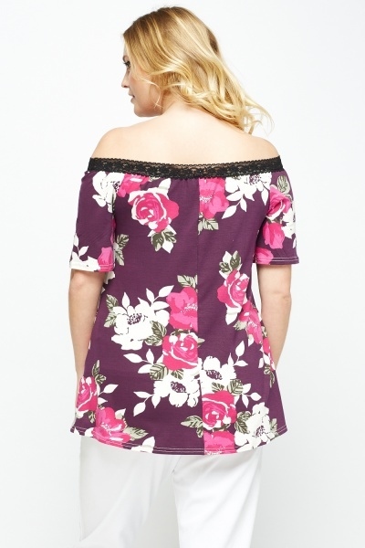 Plum Floral Off Shoulder Top