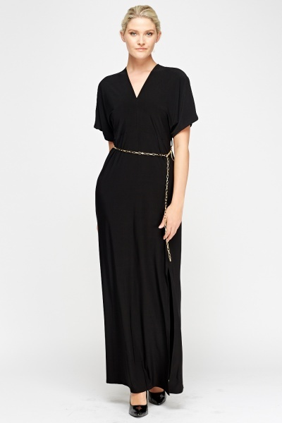 Chain Belted Black Maxi Dress
