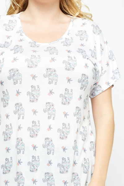 Elephant Print Casual Top