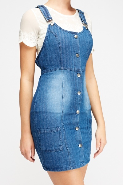 Pinafore Denim Mini Dress