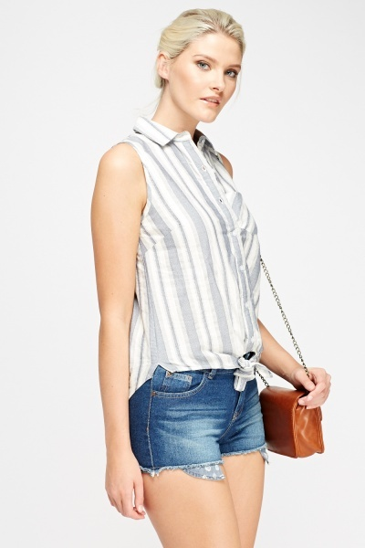 Striped Knotted Top