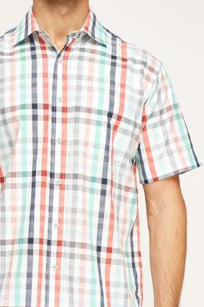 White Multi Checked Shirt