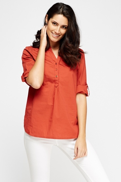 3/4 Sleeves Cotton Blend Top
