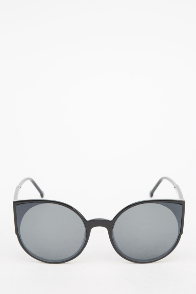 Black Round Cat Eyes Sunglasses