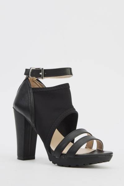 Block Heel Contrasted Sandals