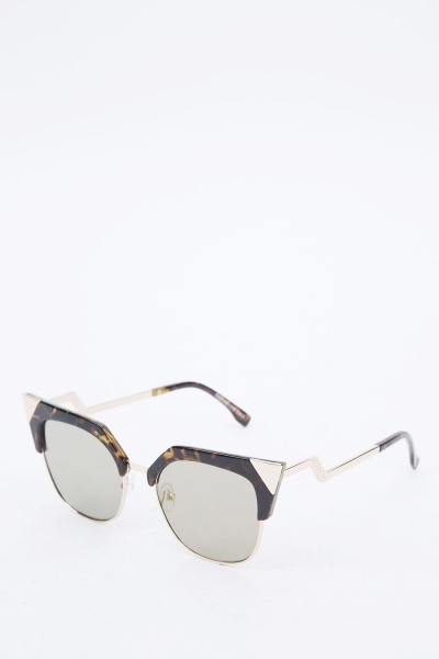 Brown Detailed Half Frame Sunglasses