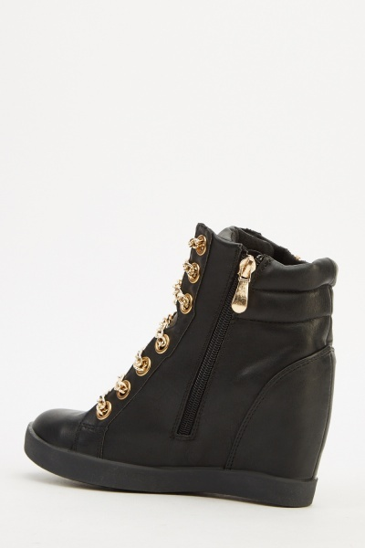 Chained Wedge High Top Trainers