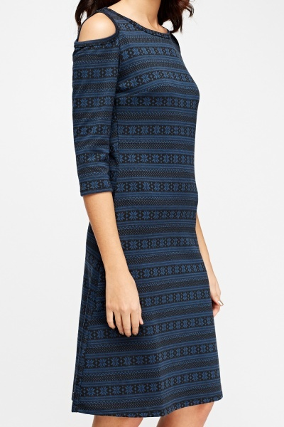 Cold Shoulder Mixed Print Dress