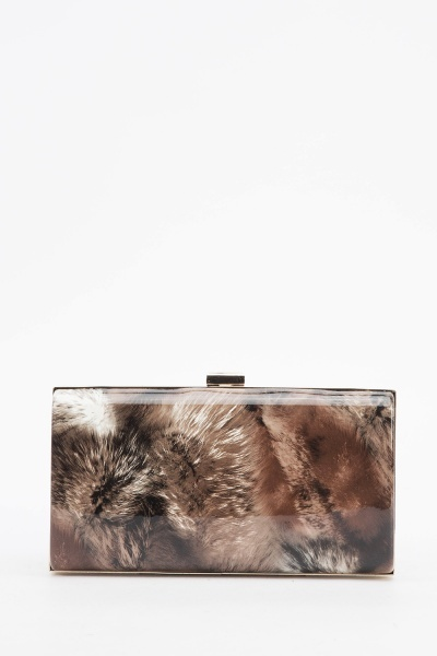 Fur Printed PVC Clutch Bag
