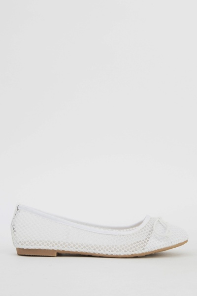 Perforated Glittered Ballet Pumps