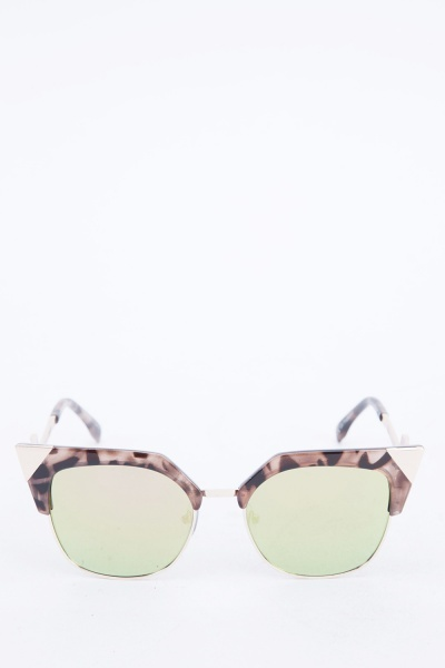 Printed Half Frame Square Sunglasses
