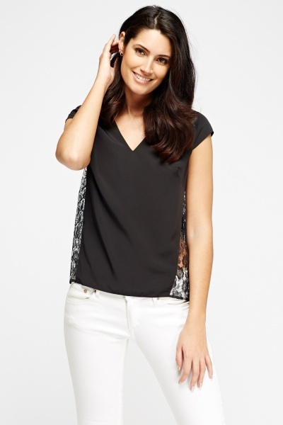 Lace Insert Black Top