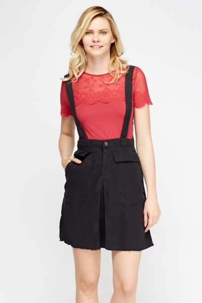 Charcoal Denim Pinafore Skirt