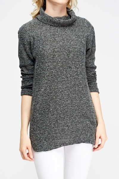 Cowl Neck Bobble Knit Jumper