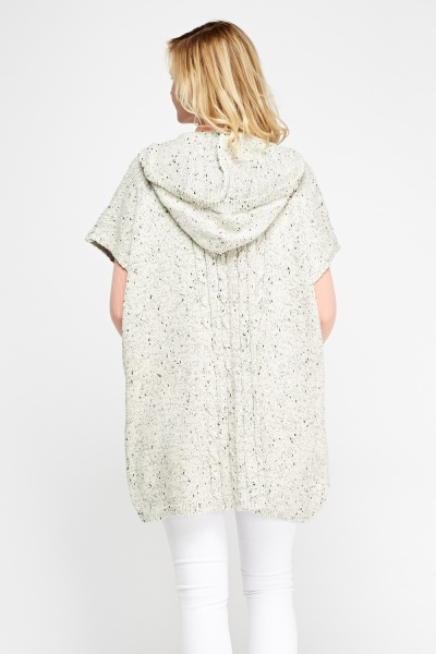 Cream Speckled Hooded Cardigan