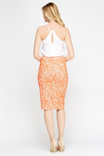 Embossed Midi Pencil Skirt