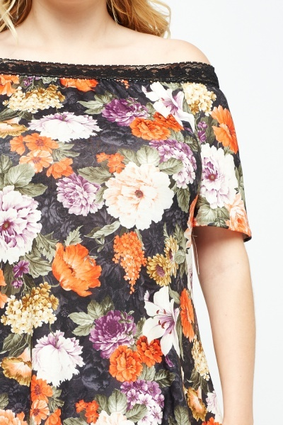 Off Shoulder Flower Print Top