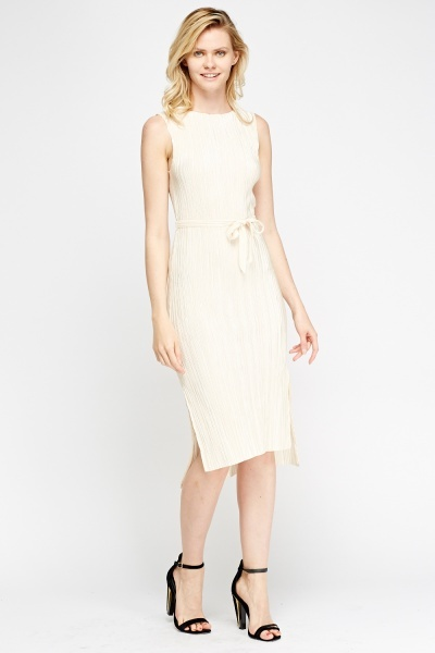 Pleated Dip Hem Dress