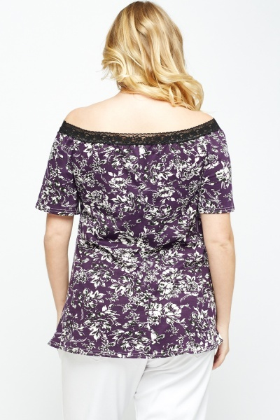 Purple Floral Off Shoulder Top
