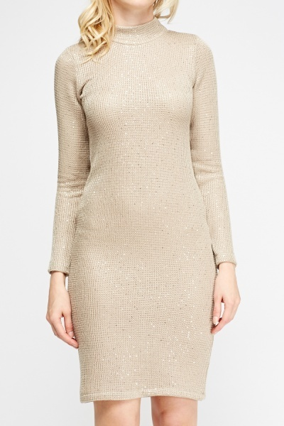 Sequin Knit High Neck Dress
