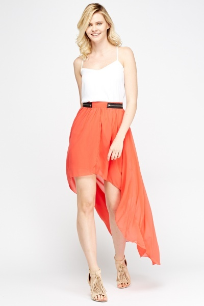 Zip Detailed  Dip Hem Skirt
