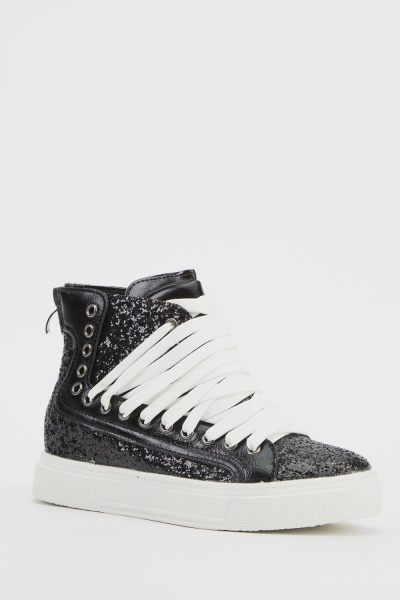Chunky Lace Up Glittered High Top Trainers
